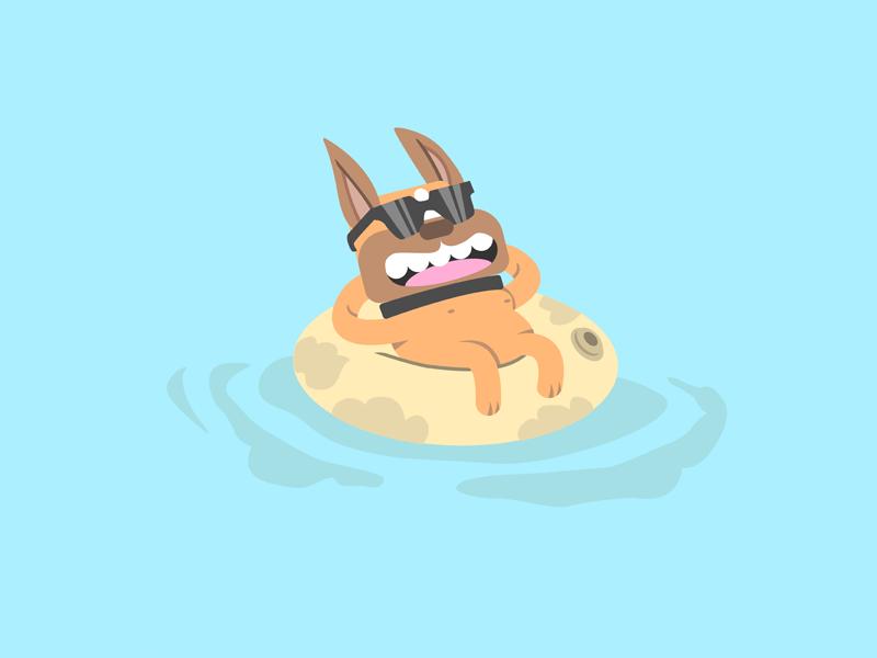 Cute French Bulldog Floating On Pool With Sunglasses. Vector Fla cartoon character cartoon fun sunglasses flat float summertime pet illustration vector flat design minimalist bulldog frenchie