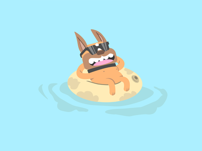 Cute French Bulldog Floating On Pool With Sunglasses. Vector Fla