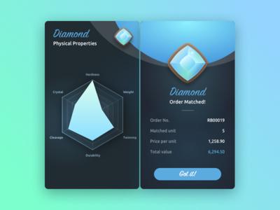 Diamond Trading Simulation trading amethyst gemstone gem mobile gradient game clean dark stat chart radar