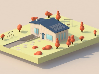 Country House cinema4d cinematic aesthetics autumn illustraion lowpoly 3d design