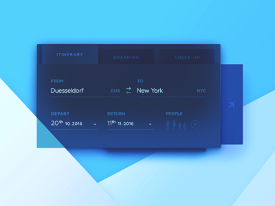 Flight Search – Hyper Blue   blue airline plane dailyui search ux ui ticket check in flight