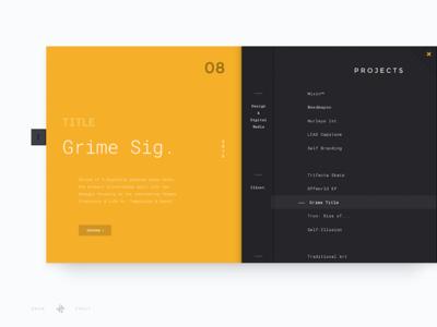 Project Menu — Personal Site case study material design material webpage web site portfolio personal minimal css clean menu