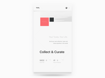 Collect & Curate – MIXIN Music mixin rally modern minimal clean onboarding music interface ui mobile