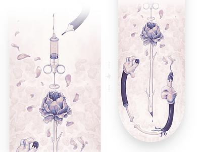 Trifecta – Skate Deck no.1 board rose syringe deck skateboard skate flower aryz mcbess illustration wacom digital painting