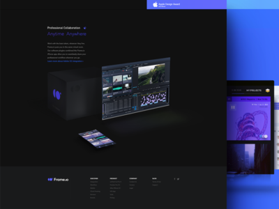 Frame.io — Design Challenge homepage ui challenge revision web perspective 3d dark minimal modern video collaboration frame