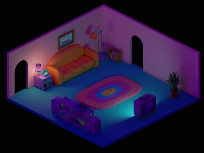 Simpson's Living Room — Day&Night homer simpson interior isometry room blender3d blender simpsons tv sofa carpet homer springfield
