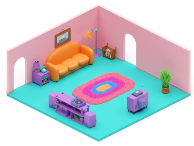 Simpson's Living Room — Day&Night homer simpson interior isometry room blender3d blender simpsons tv sofa carpet homer springfield