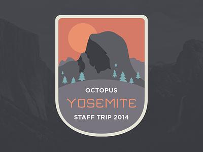 Octopus 2014 Staff Trip Badge octopus trips california badge flat illustration yosemite half dome valley floor