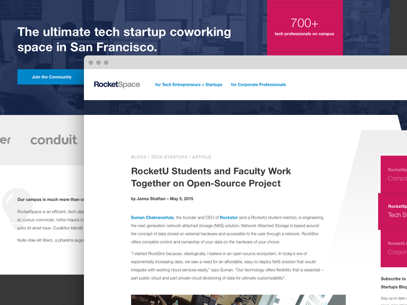 RocketSpace SF Redesign hub san francisco template coworking startup homepage
