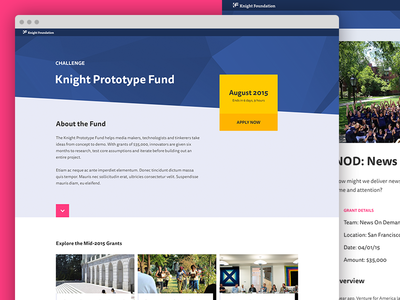 Knight Prototype Fund challenge browse knight foundation landing page cards