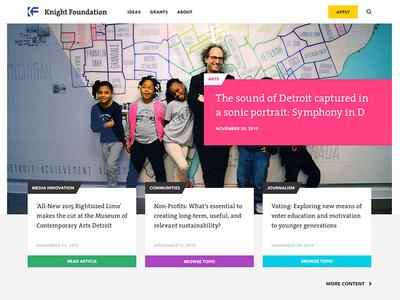 Knight Foundation Homepage Concept miami landing page home page knight foundation cards