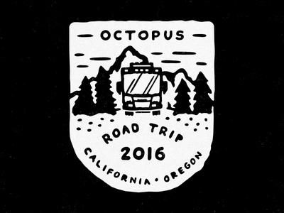 2016 Octopus Road Trip badge patch camping badge road trip oregon california octopus
