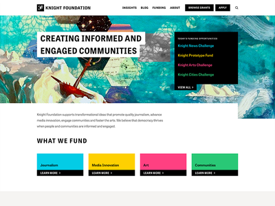 Knight Foundation Redesign journalism full width hero cards knight foundation home page landing