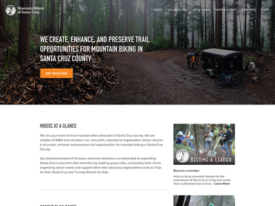 MBoSC UI Redesign trails mountain bike landing page wordpress home page