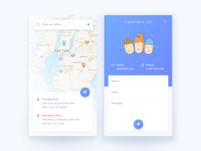Daily UI #028 Contact Us / Daily UI #029 Map by Hijin Nam | Dribbble ...
