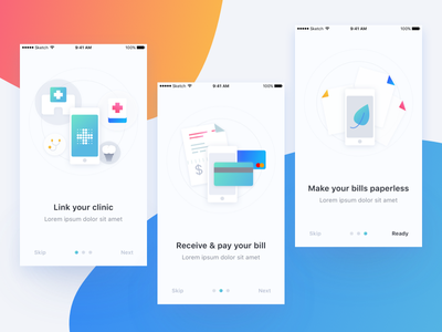 Onboarding for Insurance app bill clinic link paperless payment icon illust app mobile ux ui onboarding