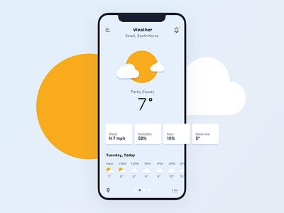 Daily UI #037 Weather app iphonex cloud sun app mobile ux ui weather 037 dailyui