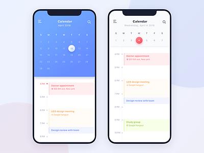 Daily UI #038 Calendar iphonex app mobile ux ui daily 038 calendar dailyui
