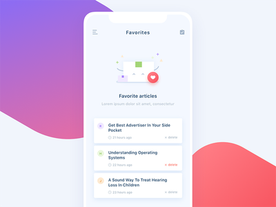 Daily UI #044 Favorites app icon articles timeline favorites mobile ux ui 044 dailyui daily