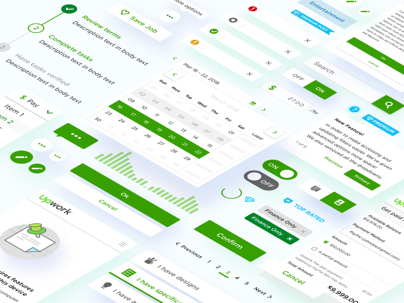 Upwork Components Library Gathering app green ux ui collection gathering library components upwork