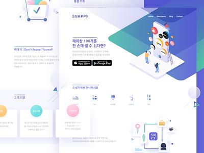 New landing design exploration for Snappy app shopping cart landing design web purple webdesign