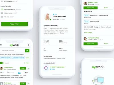 Upwork Mobile Size Design Explorations responsive layout responsive design profile design freelancer profile design mobile app ux ui