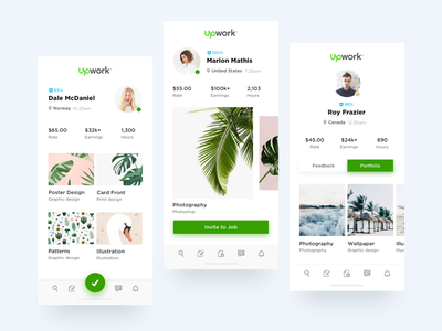 Upwork Profile Explorations ui elements ui deisgn iphonex buttons profile design mobile app ux ui