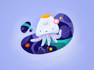 Squid's space illust procreate art procreate mint green purple space squid vector illustration design