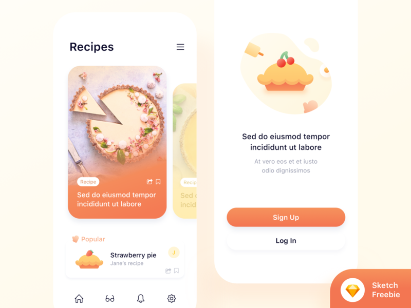 Food app concept🥧 (Freebie) + 2 Dribbble Invites icon ux ui sketch recipe app recipe pie mobile invites giveaway invites invite freebie food app ui food app food dribbble invites dribbble invite download mockup bake app