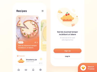 Food app concept🥧 (Freebie) icon ux ui sketch recipe app recipe pie mobile invites giveaway invites invite freebie food app ui food app food dribbble invites dribbble invite download mockup bake app