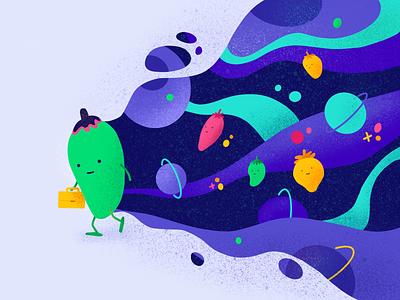 Pepperman illustration ipad pro ipad pro art ipadproart work purple green space pepper design illustration