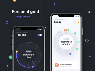 Personal Gold: UI Design Case Study casestudy case study night day tracking app fitness app exercise branding icon logo mobile app ux ui