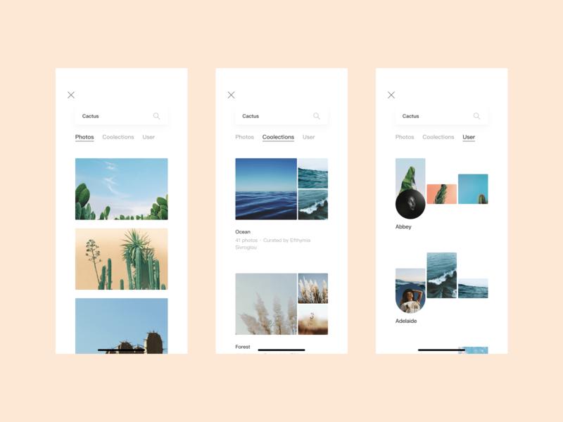 Unsplash APP Redesign NO3 photo redesign clean design color ios app ui icon