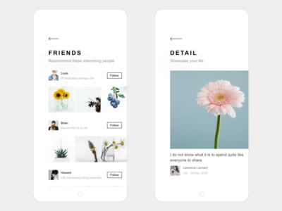 My Life App Design Friends & Detail