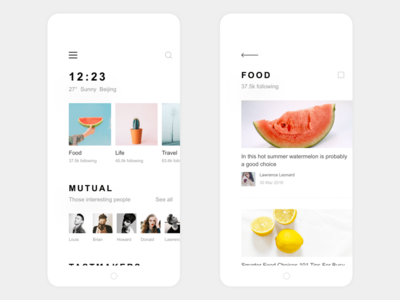 My Life App Design Find & Food List