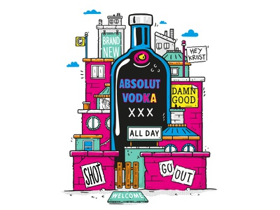 T-Shirt design for Absolut streetart posters drinks city yellow pink popart vodka ilustration