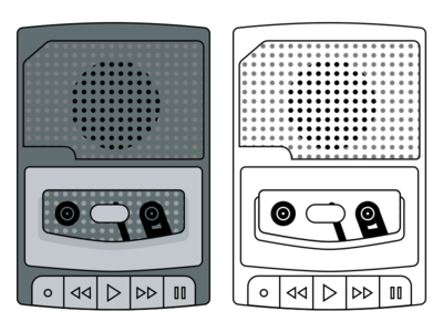 Vintage Cassette Player sketchapp line player cassette icon