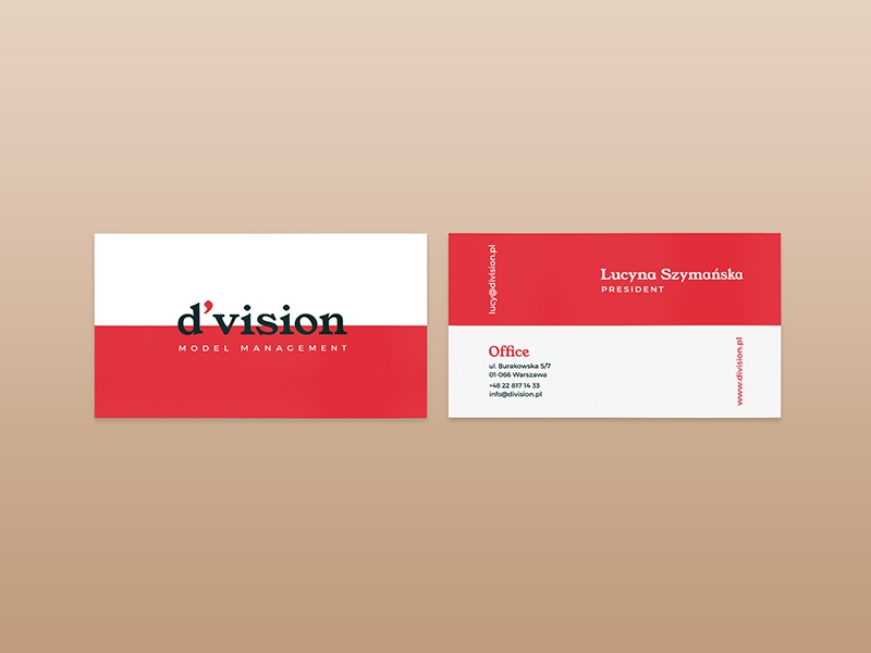 Division Model Management Business Card Design by Renáta-Adrienn ...