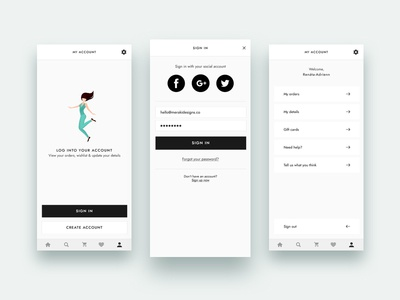 Wireframes: App Login & My Account sign in login user interface application app ui app design screens iphone invision studio wireframes
