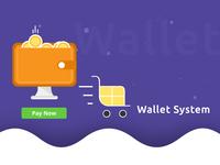 Wallet System Illustration illustration shopping cart checkout ecommerce payment wallet webkul