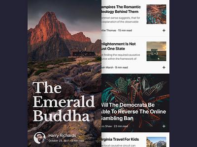 Longread App typography card read news article iphonex