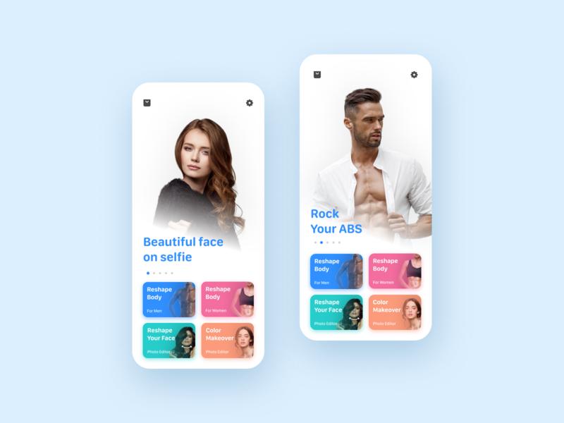 Photo editor for Men & Women photoeditor ux uiux ui inspiration minimal mobile ios figmadesign figma design colours clean design apple app design app