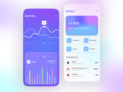 Mobile Banking App Concept card wallet blurry blur finance banking bank skeuomorphism neumorphism colorful skeuomorphic neumorphic 2020 trend clean app
