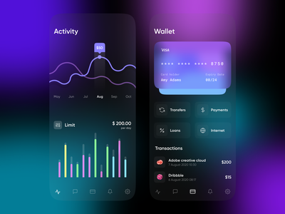 Mobile Banking App Figma Free finance wallet dark payment statistic neon card banking blurry blur clean app