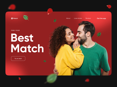 Best Match - Dating 2021 blurry blur red love match dating landing colorful clean