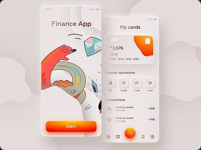 Neumorphic or Skeuomorphic Finance App Design Free Download finance orange clean illustration ui skeuomorphism design app 2020 trend neumorphism neumorphic skeuomorphic