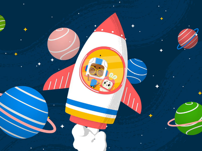 Rocket Space mograph vector duik bassel flatdesign design aftereffects animation illustration rubberhose motion launch planet kid easter character space rocket