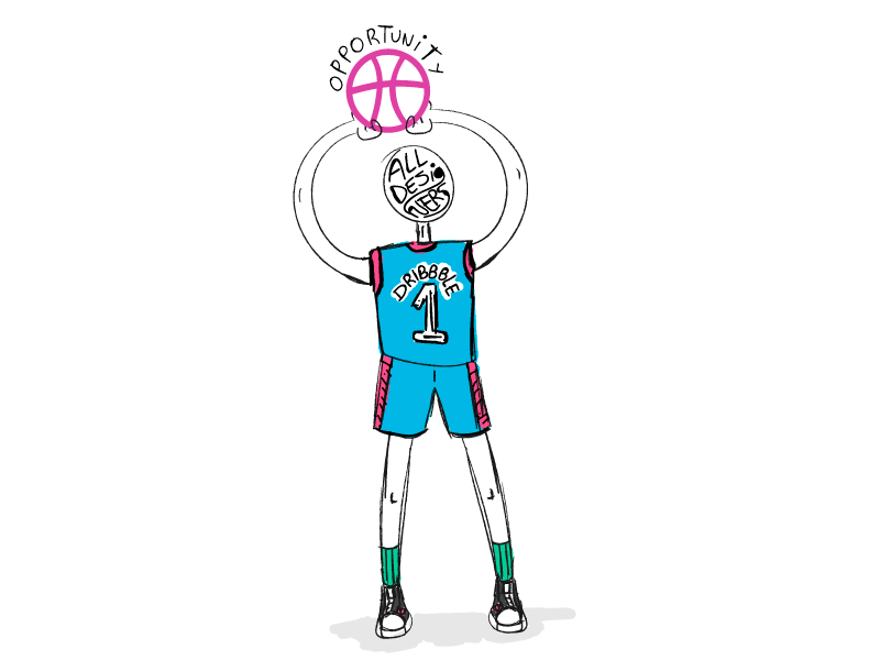 Dribbble: the king of opportunities drawing playoff freehand draw simple dribbble illustration sticker