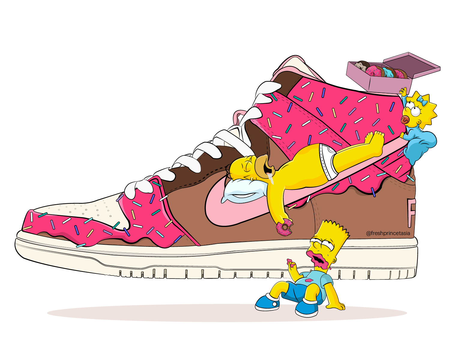 Slam Dunkin' Nike SB pink dessert illustrator art vector artwork vector art sneakerhead sneaker shoes sprinkles art donuts simpsons vector air force basket ball design illustration sneakers nike air nike