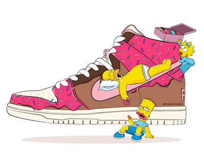 Slam Dunkin' Nike SB pink dessert illustrator art vector artwork vector art sneakerhead sneaker shoes sprinkles art donuts simpsons vector air force basket ball design illustration sneakers nike air nike